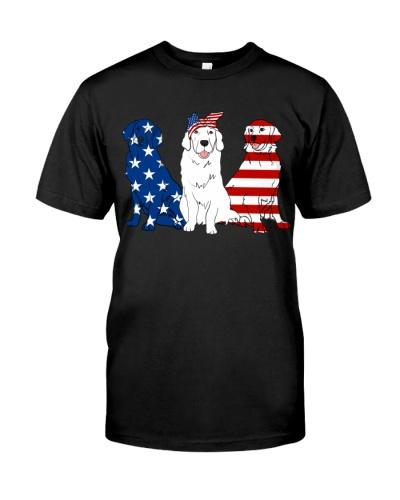 Golden Retriever American Flag