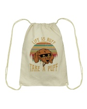 Life Is Ruff Take A Puff Sunset Retro Dog Drawstring Bag thumbnail
