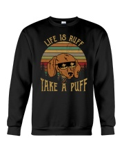 Life Is Ruff Take A Puff Sunset Retro Dog Crewneck Sweatshirt thumbnail