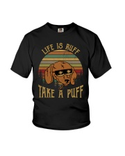 Life Is Ruff Take A Puff Sunset Retro Dog Youth T-Shirt thumbnail