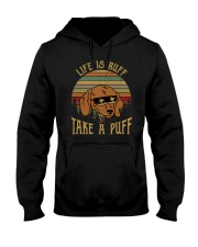 Life Is Ruff Take A Puff Sunset Retro Dog Hooded Sweatshirt thumbnail