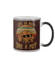 Life Is Ruff Take A Puff Sunset Retro Dog Color Changing Mug thumbnail