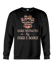 Easily Distracted By Dogs And Books Crewneck Sweatshirt thumbnail
