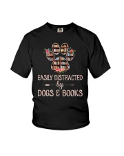 Easily Distracted By Dogs And Books Youth T-Shirt thumbnail