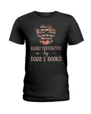 Easily Distracted By Dogs And Books Ladies T-Shirt thumbnail