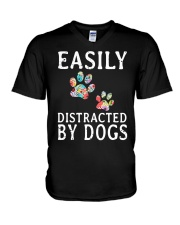 Easily - Dogs - Distracted V-Neck T-Shirt thumbnail