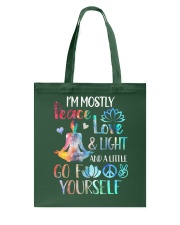 I'm mostly peace love and light Tote Bag thumbnail