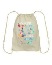 I'm mostly peace love and light Drawstring Bag thumbnail
