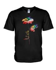 Let It Be Flowers V-Neck T-Shirt thumbnail