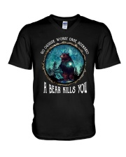 Go ouside - A bear kills you 3 V-Neck T-Shirt thumbnail