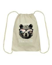 Go outside - a bear kills you Drawstring Bag thumbnail