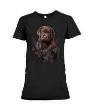 Chocalate Labrador In Pocket Premium Fit Ladies Tee thumbnail
