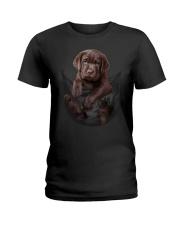 Chocalate Labrador In Pocket Ladies T-Shirt thumbnail
