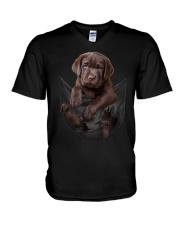 Chocalate Labrador In Pocket V-Neck T-Shirt thumbnail