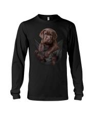 Chocalate Labrador In Pocket Long Sleeve Tee thumbnail