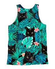 Cat Tropical Flowers All-over Unisex Tank back