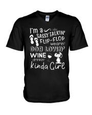 Flip Flop - Dog Lovin - Kinda Girl V-Neck T-Shirt thumbnail
