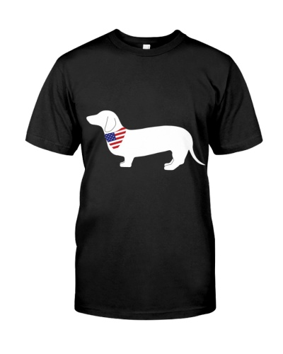 Dachshund With American Flag Bandana Design