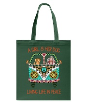 Girl - Her Dog Living Life In Peace Tote Bag thumbnail