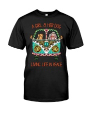 Girl - Her Dog Living Life In Peace Premium Fit Mens Tee thumbnail
