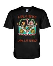 Girl - Her Dog Living Life In Peace V-Neck T-Shirt thumbnail