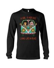 Girl - Her Dog Living Life In Peace Long Sleeve Tee thumbnail