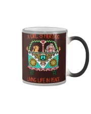 Girl - Her Dog Living Life In Peace Color Changing Mug thumbnail