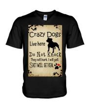 Crazy Dogs - Paw V-Neck T-Shirt thumbnail