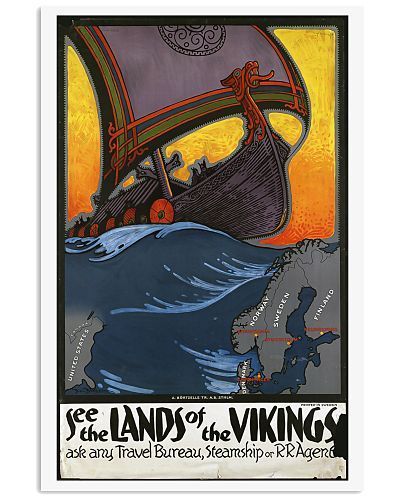 SEE THE LANDS OF THE VIKINGS VINTAGE TRAVEL POSTER