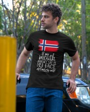 IF MY MOUTH DOESN'T SAY IT MY FACE WILL Classic T-Shirt apparel-classic-tshirt-lifestyle-front-44