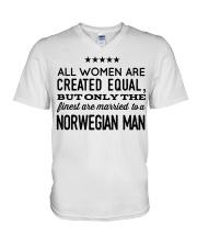 MARRIED TO A NORWEGIAN MAN V-Neck T-Shirt thumbnail