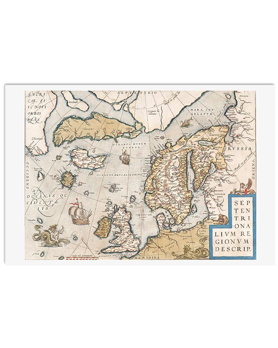 16th CENTURY MAP OF SCANDINAVIA 17x11 Poster