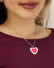 Metallic Necklace With Red Heart Love Inside It Metallic Heart Necklace aos-necklace-heart-metallic-lifestyle-1