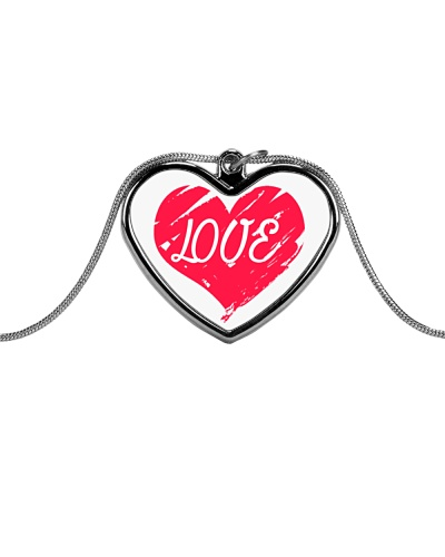 Metallic Necklace With Red Heart Love Inside It