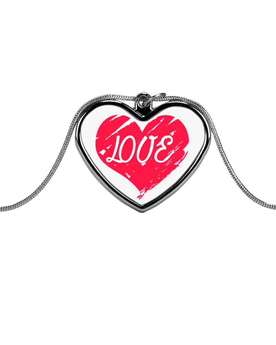 Metallic Necklace With Red Heart Love Inside It Metallic Heart Necklace