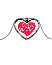 Metallic Necklace With Red Heart Love Inside It Metallic Heart Necklace front