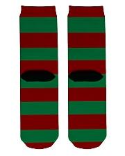 Christmas Socks Striped Green And Red Crew Length Socks back