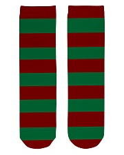 Christmas Socks Striped Green And Red Crew Length Socks front