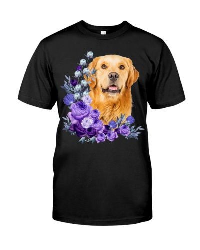 Golden Retriever-Purple Flower Stems