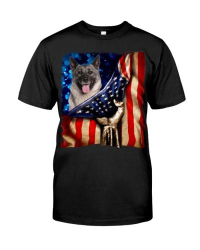 Norwegian Elkhound American Flag-Front