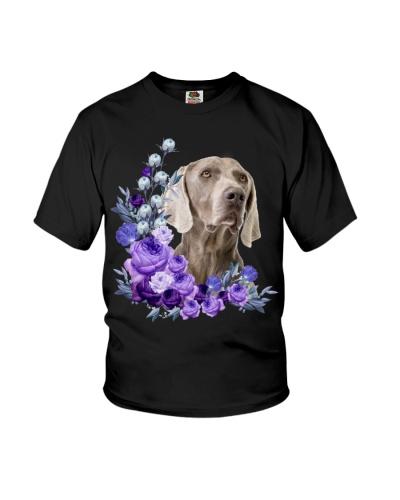 Weimaraner-Purple Flower Stems