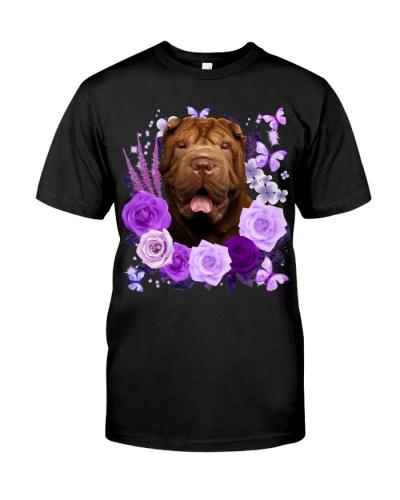 Shar Pei-Purple Flower