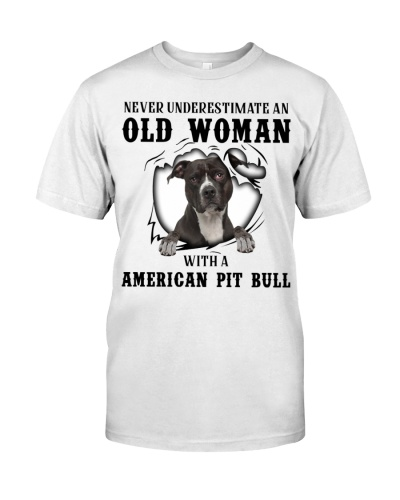 Old Woman With A American Pit Bull Terrier