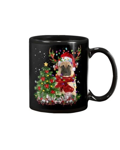 Bull Mastiff-Reindeer-Christmas