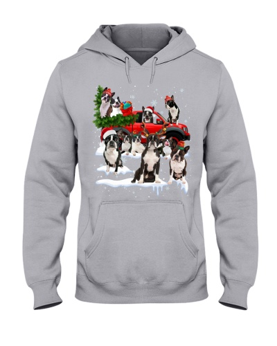 Boston Terrier-Christmas Car
