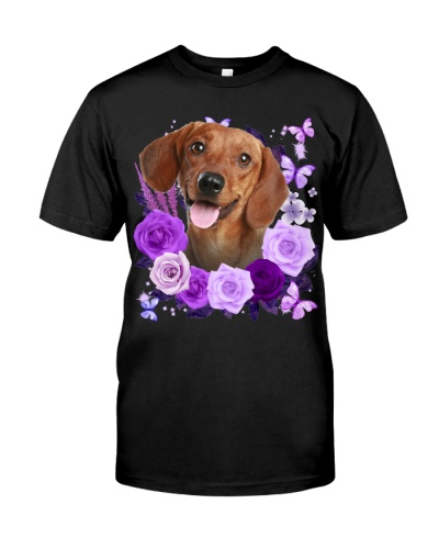 Dachshund-02-Purple Flower