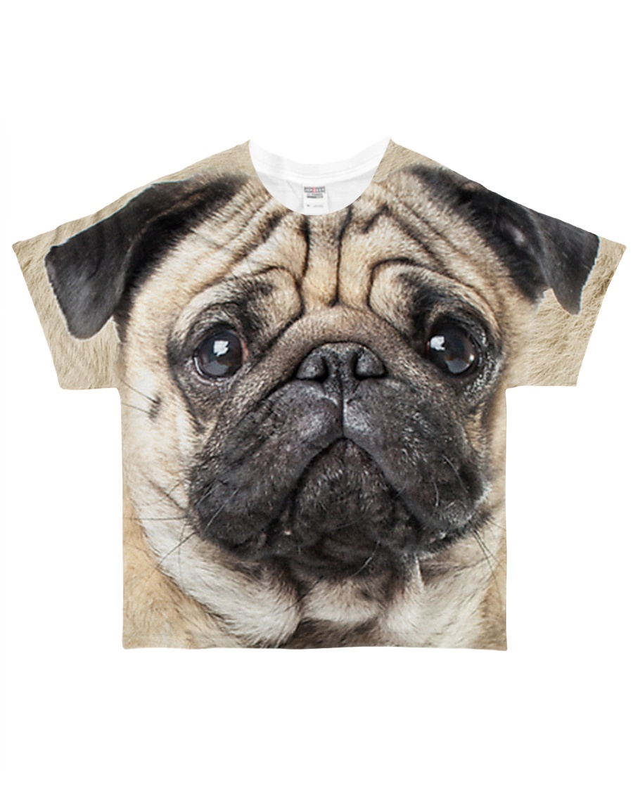 Pug-Face and Hair All-over T-Shirt