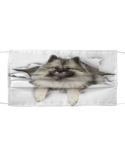 Keeshond Torn Paper Face