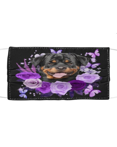 Rottweiler 02 Purple Flower Face