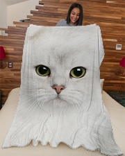 "White Cat Face 3D Large Fleece Blanket - 60"" x 80"" aos-coral-fleece-blanket-60x80-lifestyle-front-04"